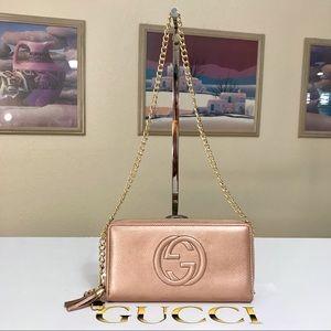 Gucci GG Pattern Leather Zipper Wallet/Crossbody
